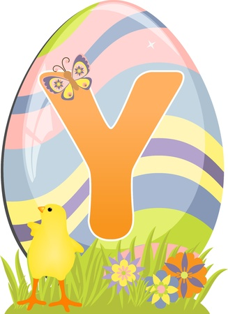 Cute initial letter Y for easter design Vector