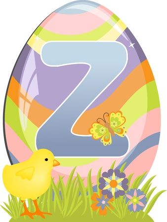 Cute initial letter Z for easter design Vector
