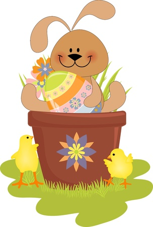 Cute Easter illustration with rabbit, eggs and chick Illustration