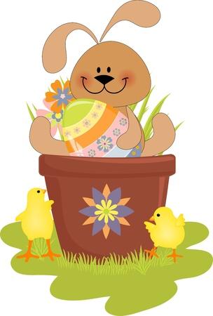 silhouette lapin: Jolie illustration de P�ques avec lapin, les ?ufs et les oisillons Illustration