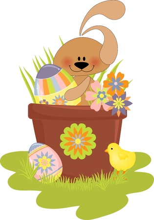 Cute Easter illustration with rabbit, eggs and chick Vector