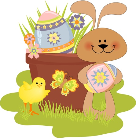 chick: Cute Easter illustration with rabbit, eggs and chick Illustration