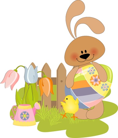 Cute Easter illustration with toy Stock Vector - 9541197