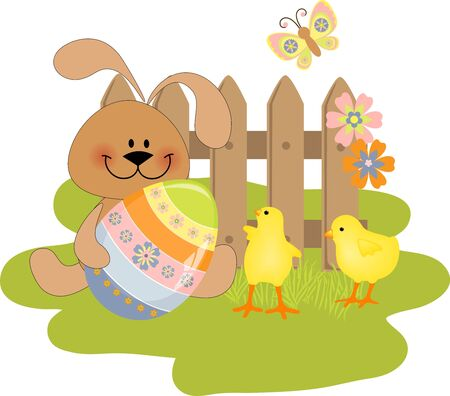 Cute Easter illustration with toy