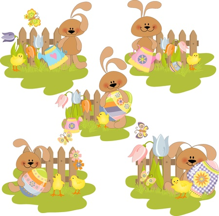 Cute easter illustration set Stock Vector - 9541269