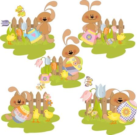 Cute easter illustration set Stock Vector - 9541269