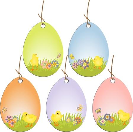 chick: Etiquetas de elementos de scrapbooking de Pascua lindo Vectores