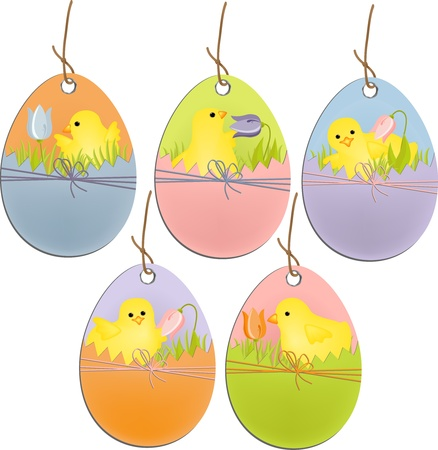 Cute easter scrapbooking elements tags Illustration