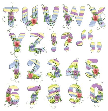 latin alphabet: Cute spring alphabet with flowers