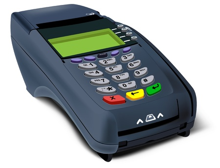 Photorealistic illustration of modern POS-terminal Vector