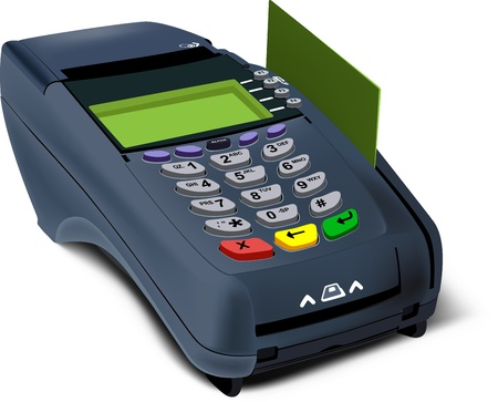 merchant: Photorealistic illustration of modern POS-terminal with Credit card inserted