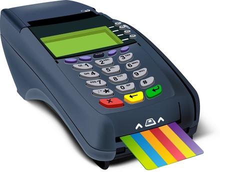 Illustrazione fotorealistica di moderno terminale POS con carta di credito inserito