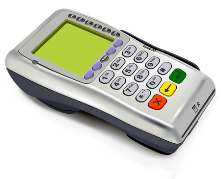 the reader: Photorealistic illustration of modern wireless POS-terminal