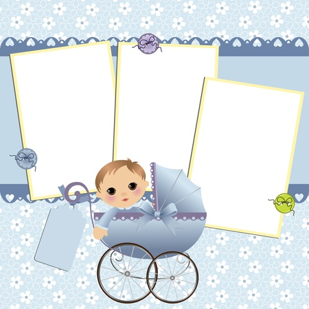 Cute template for baby's arrival announcement card or photo frame Stock Vector - 10475095