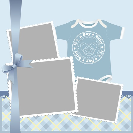 Cute template for babys arrival announcement card or photo frame Vector
