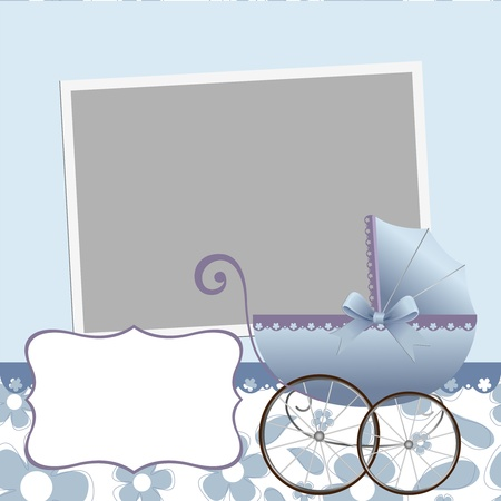 Cute template for baby's arrival announcement card or photo frame Stock Vector - 10475079