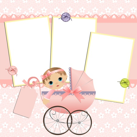 album greetings: Cute template for babys arrival announcement card or photo frame Illustration