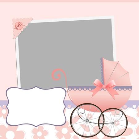 cochecito de bebe: Plantilla lindo beb� llegada anuncio tarjeta o foto marco