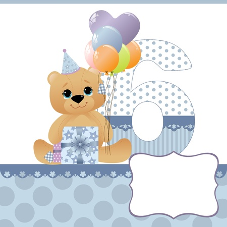 Cute template for baby birthday card Stock Vector - 10475100