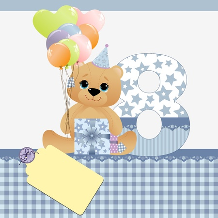 8 years birthday: Cute template for baby birthday card