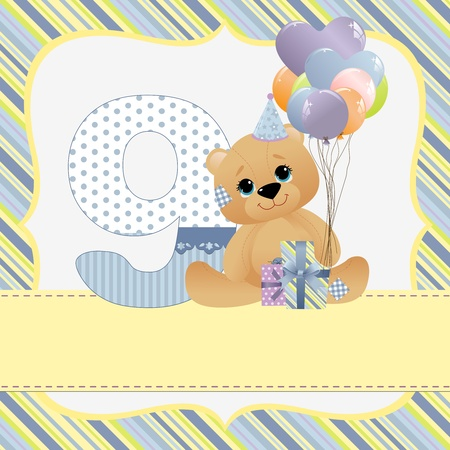 Cute template for baby birthday card Vector