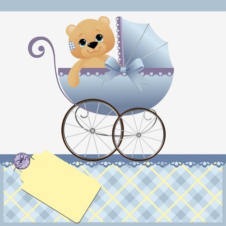 cochecito de bebe: Linda plantilla de tarjeta de presentaci�n de llegada de beb�