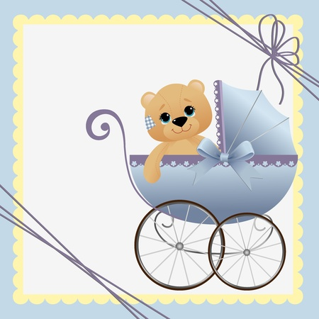teddy bears: Cute template for baby arrival announcement card Illustration