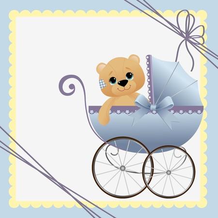 teddy: Nette Vorlage f�r Baby Ankunft Ank�ndigung Karte Illustration