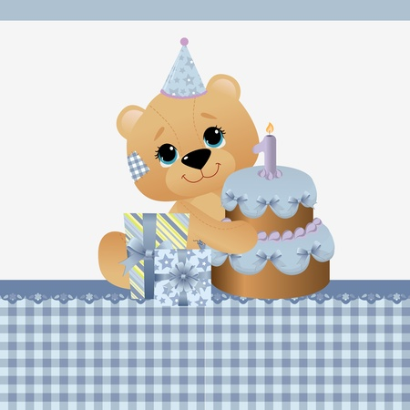 Cute template for baby birthday greetings card Stock Vector - 10475107