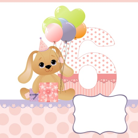 6 years: Cute template for baby birthday card