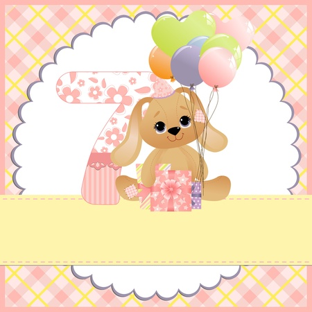 Cute template for baby birthday card