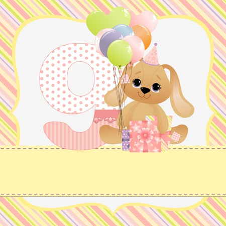 Cute template for baby birthday card Stock Vector - 10475105