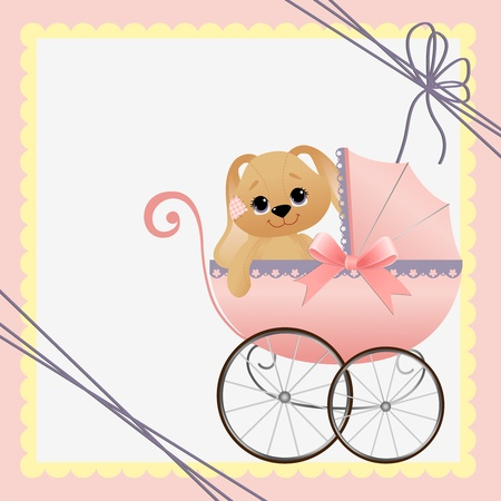pram: Cute template for baby arrival announcement card Illustration
