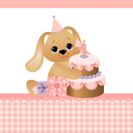 Cute template for baby birthday greetings card Vector