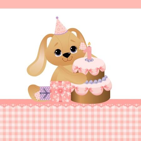 Leuke template voor baby verjaardag wenskaarten Stock Illustratie