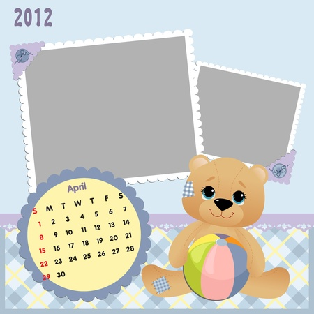 Baby calendar 2012 Vector