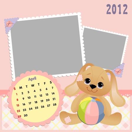 Baby calendar 2012 Stock Vector - 10475075