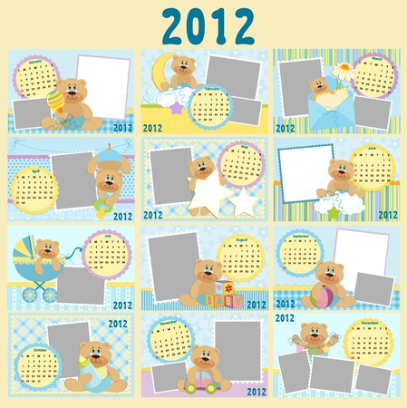 Baby's monthly calendar for 2012 Stock Vector - 10533869