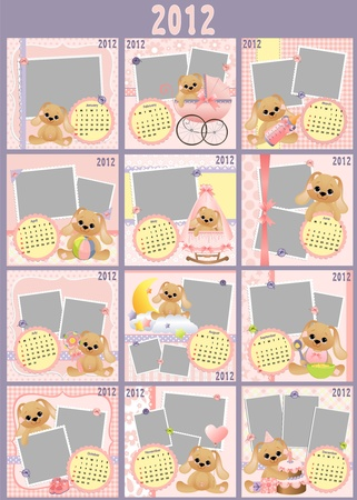 monthly calendar: Babys monthly calendar for 2012
