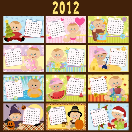 Baby's monthly calendar for 2012 Stock Vector - 10533874
