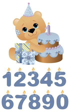 Cute toy with birthday cake Stock Vector - 10533867