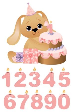 Lindo juguete con pastel de cumpleaños Ilustración de vector