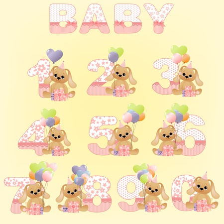baby birthday: Collection of cute baby birthday digits Illustration