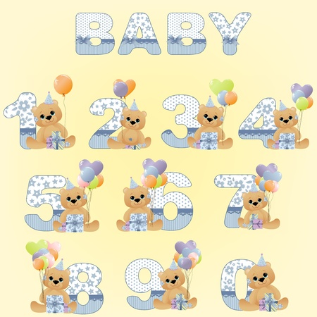 Collection of cute baby birthday digits Stock Vector - 10533873
