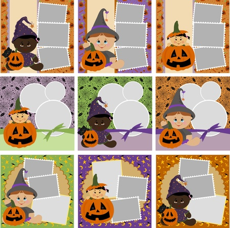Collection of Halloween photo frames Vector