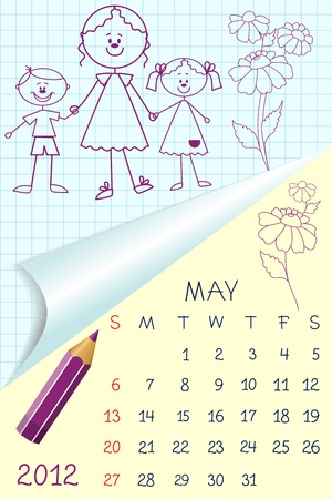 Cute schoolbook style calendar for 2012 Vector