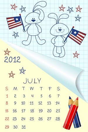Cute schoolbook style calendar for 2012 Stock Vector - 10533854