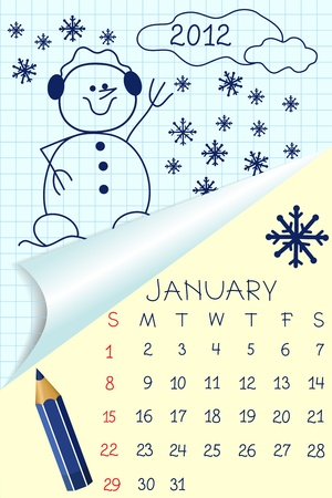 Cute schoolbook style calendar for 2012 Stock Vector - 10533858