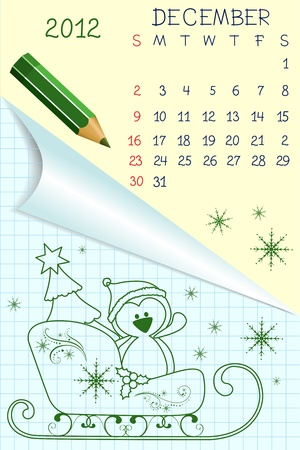 Cute schoolbook style calendar for 2012 Stock Vector - 10533868