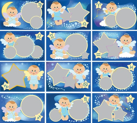 Collection of photo frames with zodiac signs Vector
